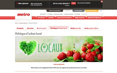 Screenshot of Services Page metro.ca - Politique d'achat local - captured Aug. 12, 2016