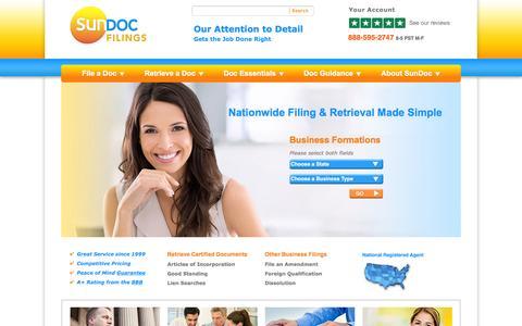Screenshot of Home Page sundocumentfilings.com - California Business Filings: Start Your LLC or Corporation | SunDoc Filings - captured Feb. 17, 2016