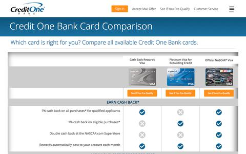 Credit Card Offers & Benefits Comparison | Credit One Bank