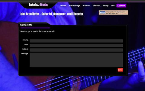 Screenshot of Contact Page lukejazz.com - Contact - Lukejazz Music - captured Sept. 20, 2017