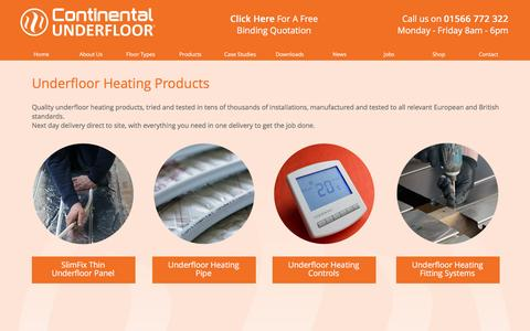 Screenshot of Products Page ufh.co.uk - Underfloor Heating Products | Continental UFH - captured Jan. 31, 2016