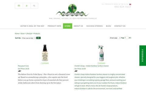 Screenshot of Products Page nuspecies.com - Products - captured Dec. 19, 2016