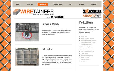 Screenshot of Products Page wiretainers.com.au - Wiretainers, Wire, Steel and Mesh Products - Product Range - captured Oct. 7, 2014