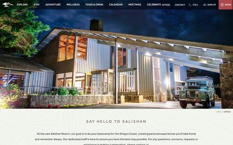 Screenshot of Contact Page salishan.com - Oregon Coast Accommodations | Salishan Spa and Resort - Contact - captured Nov. 12, 2018