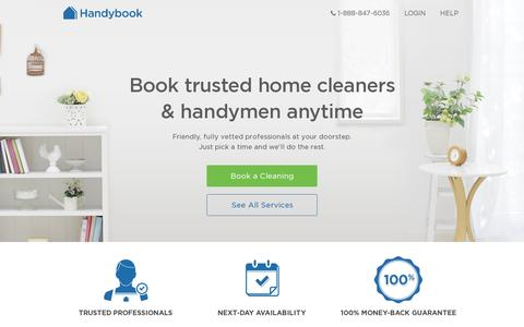 Screenshot of Home Page handybook.com - Handybook | Home cleaning. Ikea assembly. Instant booking of Trusted and verified service professionals. - captured July 17, 2014