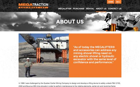 Screenshot of About Page megatraction.com - About us | Megatraction Equipment Inc. - captured Oct. 27, 2014
