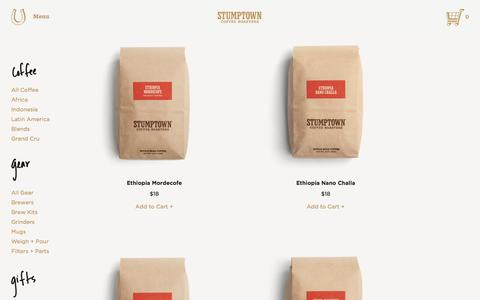 Screenshot of Products Page stumptowncoffee.com - Stumptown Coffee Roasters | All Products - captured Nov. 17, 2015