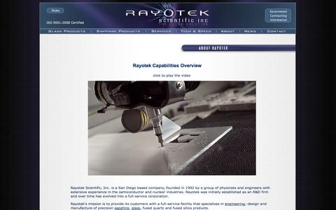 Screenshot of About Page rayotek.com - Glass & Sapphire Products Manufacturer | Rayotek Scientific Inc. - captured Oct. 26, 2014