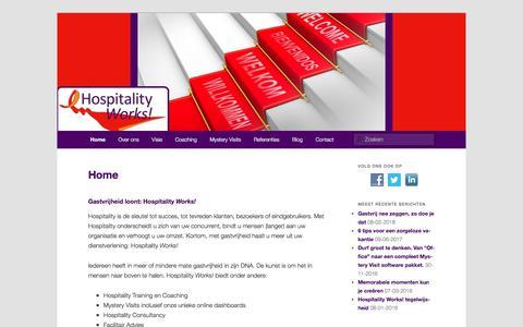 Screenshot of Home Page hospitalityworks.nl - Gastvrijheid loont: Hospitality Works!Hospitality Works! - captured July 21, 2018