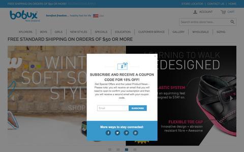 Screenshot of Home Page bobuxusa.com - Baby Shoes | Bobuxusa - captured Feb. 2, 2016