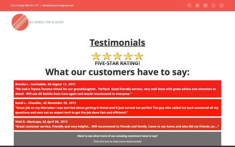 Screenshot of Testimonials Page allmobileautocare.com - Testimonials - All Mobile Tint & Glass - captured Nov. 20, 2016