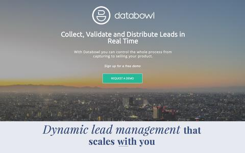 Screenshot of Landing Page databowl.com captured April 17, 2016