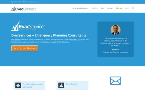 Screenshot of Services Page evacconnect.com - EvacServices - Emergency Planning Consultants | EvacConnect - captured Sept. 30, 2014