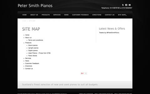 Screenshot of Site Map Page petersmithpianos.com - Site Map - Samick and Schimmell Pianos - PeterSmithPianos.com - captured Jan. 27, 2016