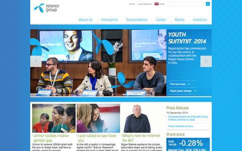Screenshot of Home Page telenor.com - Telenor Group - captured Sept. 18, 2014