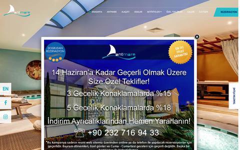 Screenshot of Home Page antmare.com - Antmare   Alaçatı Butik Oteller - captured Feb. 27, 2018
