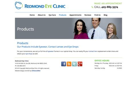 Screenshot of Products Page redmondeyeclinic.com - Eye Care Products | Contact Lenses | Eyewear | Eye Drops Redmond Eye Clinic - captured Oct. 7, 2014