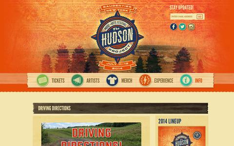 Screenshot of Maps & Directions Page hudsonmusicproject.com - Driving Directions - The Hudson Project - captured Nov. 4, 2014