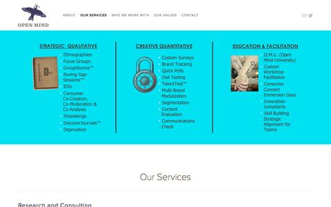 Screenshot of Services Page openmindstrategy.com - Our Services — Open Mind Strategy - captured Feb. 14, 2016