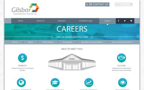 Screenshot of Jobs Page gilsbar.com - Careers - captured July 13, 2018