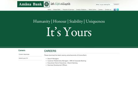 Screenshot of Jobs Page amanabank.lk - Find careers at Amana Bank - captured Oct. 4, 2014