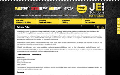 Screenshot of Privacy Page jeiuk.com - Privacy Policy | Legal Information | JEI Solutions Ltd, Lancashire - captured Oct. 3, 2017