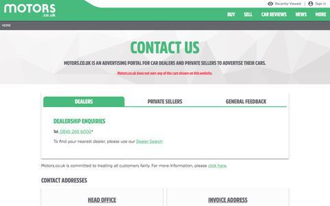 Screenshot of Contact Page motors.co.uk - Contact - captured Feb. 21, 2020