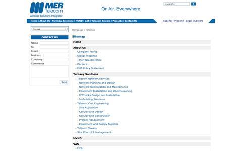 Screenshot of Site Map Page mer-telecom.com - Sitemap - captured Oct. 27, 2014