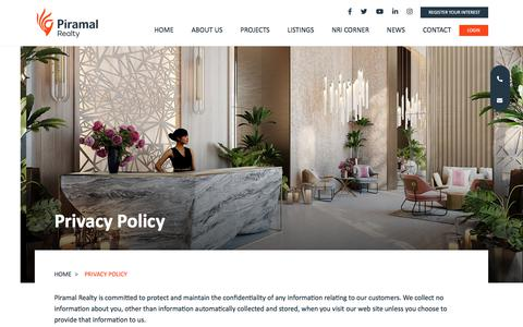 Screenshot of Privacy Page piramalrealty.com - Piramal Realty - captured Oct. 8, 2019