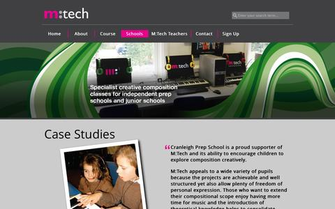 Screenshot of Case Studies Page mtechonline.co.uk - Schools | M:Tech : Music Technology For Schools - captured Oct. 3, 2014
