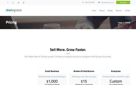 Screenshot of Pricing Page shelvspace.com - Shelvspace - Pricing - captured Nov. 5, 2014