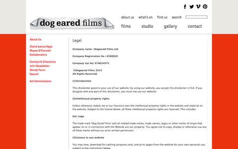 Screenshot of Terms Page dogearedfilms.co.uk - Legal | Dog Eared Films - captured Sept. 30, 2014
