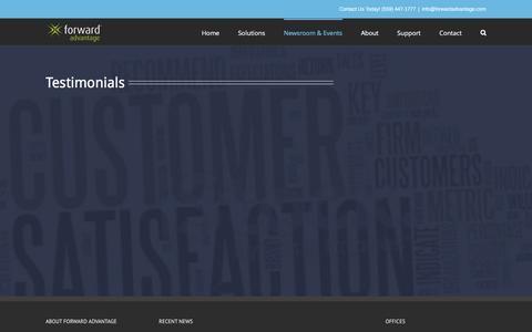 Screenshot of Testimonials Page forwardadvantage.com - Testimonials - Forward Advantage, Inc. - captured Feb. 10, 2016