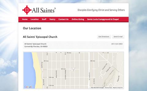 Screenshot of Locations Page allsaintscarmel.org - Our Location – All Saints Episcopal Church, Carmel - captured Feb. 5, 2016