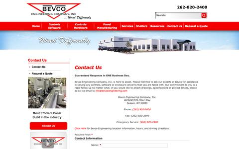 Screenshot of Contact Page bevcoengineering.com - Contact Us - captured Oct. 5, 2018