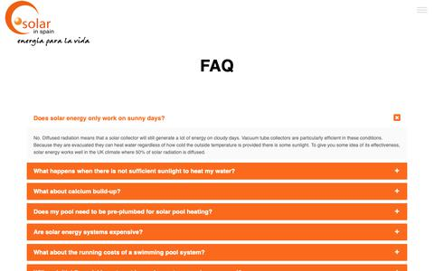 Screenshot of FAQ Page solarinspain.com - Solar in Spain | FAQ - captured Oct. 20, 2018