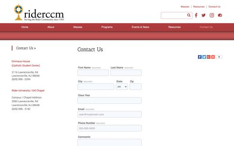 Screenshot of Contact Page riderccm.org - Contact Us - Rider University CCM - Lawrenceville, NJ - captured Sept. 27, 2018