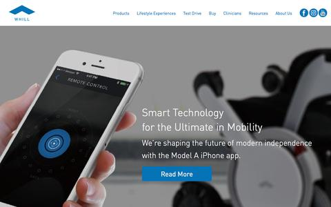 Screenshot of Home Page whill.us - WHILL   Intelligent Personal EVs - The Future of Power Wheelchairs - captured Nov. 20, 2017