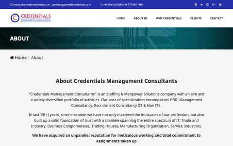 Screenshot of About Page credentials.co.in - Credentials Management Consultants - captured Sept. 26, 2018