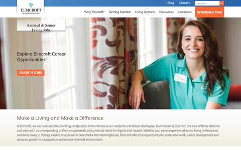Screenshot of Jobs Page elmcroft.com - Assisted & Senior Living Jobs | Elmcroft Senior Living - captured Sept. 28, 2018