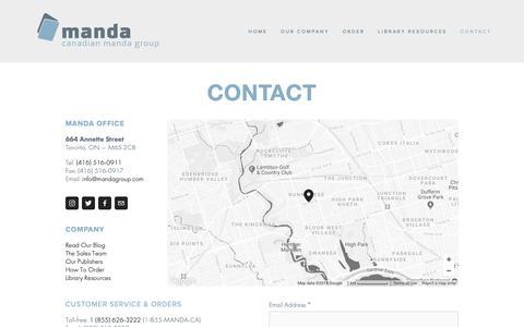 Screenshot of Contact Page mandagroup.com - Our Company — Manda Group - captured Sept. 26, 2018