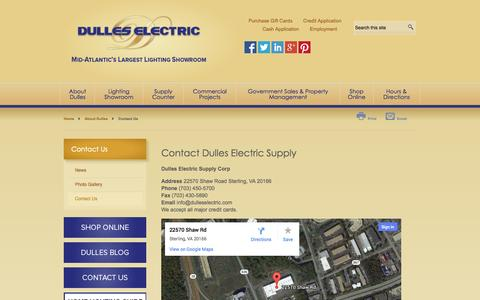 Screenshot of Contact Page dulleselectric.com - Contact Dulles | Dulles Electric - captured Oct. 5, 2014