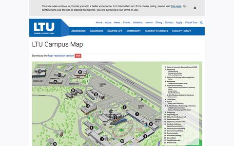 Screenshot of Maps & Directions Page ltu.edu - LTU Campus Map - captured Sept. 23, 2018