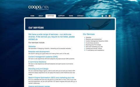 Screenshot of Services Page coopa.net - Our services | coopa.net – Web Development and Design – London - captured Sept. 23, 2014