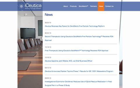 Screenshot of Press Page iceutica.com - News | iCeutica - captured Oct. 27, 2014