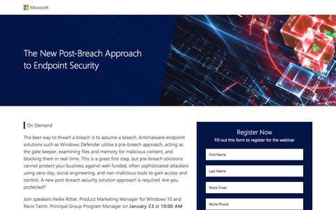 Screenshot of Landing Page microsoft.com - Microsoft | Security Webinar - captured Feb. 25, 2017
