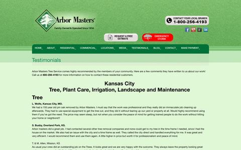 Screenshot of Testimonials Page arbormasters.com - Testimonials - Tree Service, Lawn Care and Landscape Company - captured Sept. 8, 2016