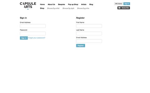 Screenshot of Login Page capsulearts.com - Capsule Arts - Sign in and Registration - captured Sept. 29, 2014