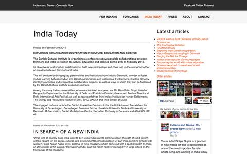 Screenshot of Press Page cocreatenow.org - India Today » Co-create Now - for Indians and Danes who co-create and explore - captured Nov. 26, 2016