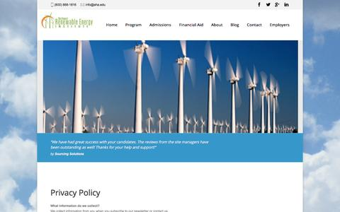 Screenshot of Privacy Page nw-rei.com - Privacy Policy | Wind Turbine Technician Training Programs - captured Feb. 15, 2016